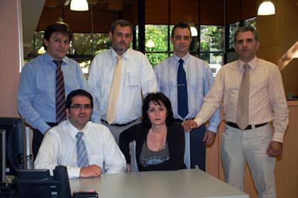 IT team, left to right: Gakis Karageorgas, Dimitris Karanikolas, George Gerakis, Panagiotis Zaxariadis. Seated: Costas Kelaidis, Zana Tzia.