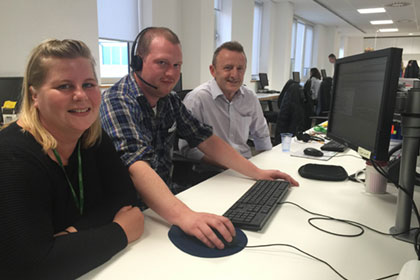 From Left to Right: Dawn Shortall, Business Support Officer, Hugh Havard, Supporter care team member, and Alan Carter, Senior Manager Fund Raising.