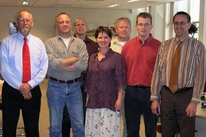 The Wagenborg IT development team: Left to right: Harry Meyer, Aart Wezeman, Jan Egbert Muurman, Ida Eckhardt, Theo Mulder, Jan Koster and Kees Bonthond